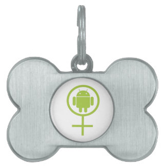 Female Android (Software Developer) Bug Droid Pet ID Tag