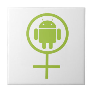 Female Android (Software Developer) Bug Droid Small Square Tile