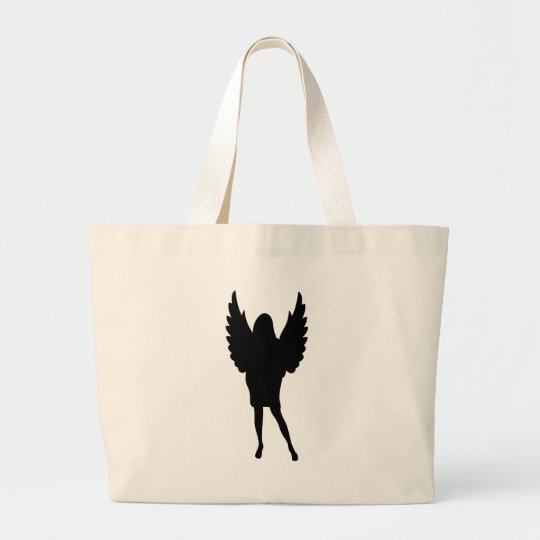 female angel shape icon large tote bag