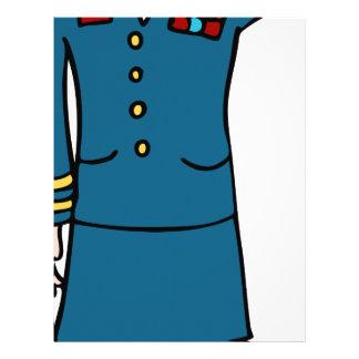 Female Army Officer Cartoon Letterhead