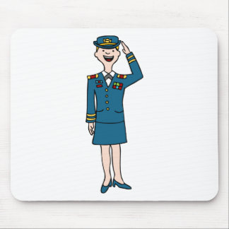 Female Army Officer Cartoon Mouse Pad