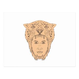 Female Aztec Warrior Jaguar Headdress Drawing Postcard