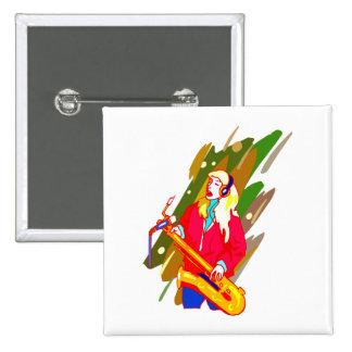 Female Baritone Sax Player Singing Graphic Design 2 Inch Square Button
