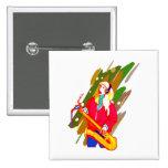 Female Baritone Sax Player Singing Graphic Design Pinback Button
