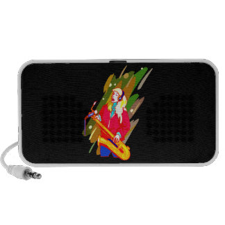 Female Baritone Sax Player Singing Graphic Design iPhone Speaker