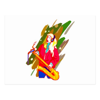 Female Baritone Sax Player Singing Graphic Design Postcard