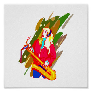 Female Baritone Sax Player Singing Graphic Design Posters