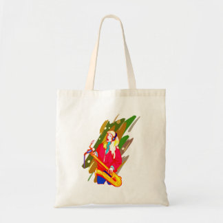 Female Baritone Sax Player Singing Graphic Design Tote Bag