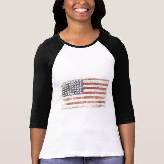 Female Baseball Jersey with USA Flag T-Shirt