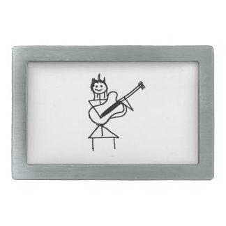 female bass guitar stick figure black and white rectangular belt buckle