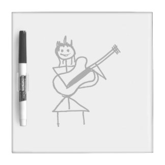 female bass guitar stick figure black and white Dry-Erase board