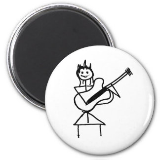 female bass guitar stick figure black and white magnet