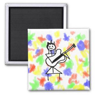 female bass guitar stick figure black and white fridge magnet
