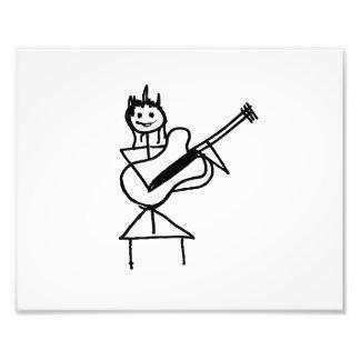 female bass guitar stick figure black and white photo print