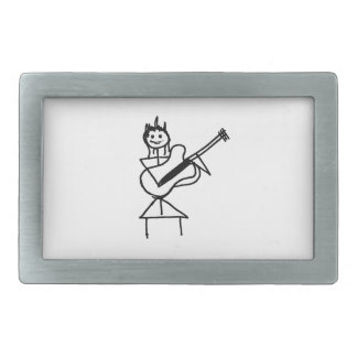 female bass guitar stick figure black and white rectangular belt buckle