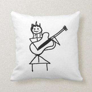 female bass guitar stick figure black and white throw pillow