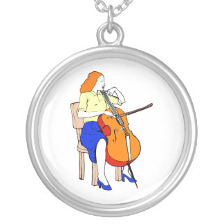 Female bass orchestra yellow shirt.png silver plated necklace