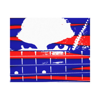 Female bass player eyes blue red canvas print