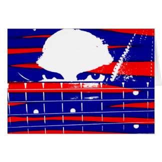 Female bass player eyes blue red stationery note card