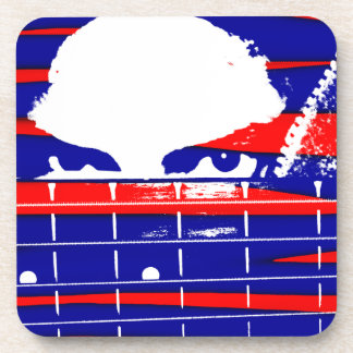 Female bass player eyes blue red drink coaster