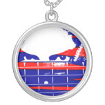Female bass player eyes blue red custom necklace
