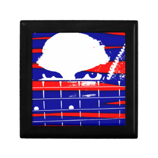Female bass player eyes blue red jewelry box