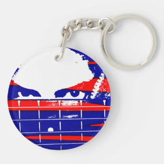 Female bass player eyes blue red Double-Sided round acrylic keychain