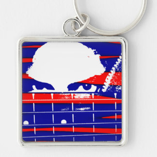 Female bass player eyes blue red key chain