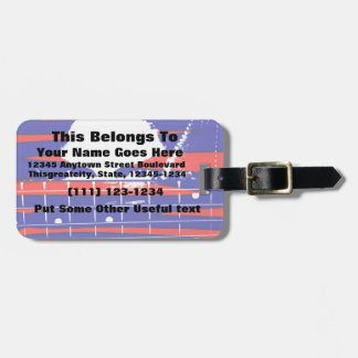 Female bass player eyes blue red luggage tag
