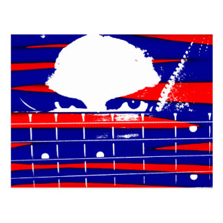 Female bass player eyes blue red postcard
