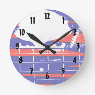 Female bass player eyes blue red round clock