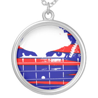 Female bass player eyes blue red silver plated necklace