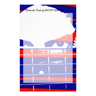 Female bass player eyes blue red stationery