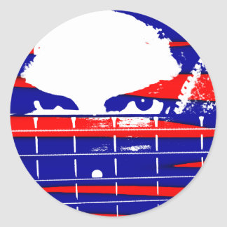 Female bass player eyes blue red classic round sticker