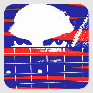 Female bass player eyes blue red square sticker