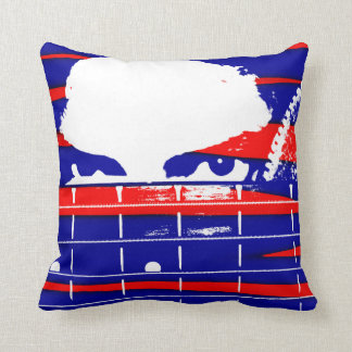 Female bass player eyes blue red throw pillow