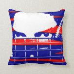 Female bass player eyes blue red throw pillows