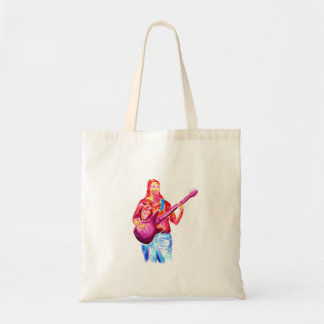 Female bass player watercolour painting, colorful! tote bag