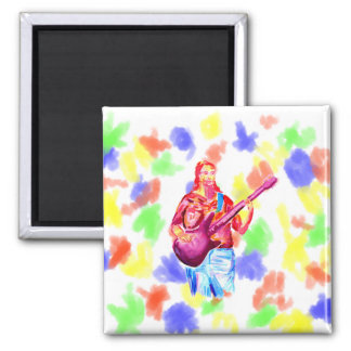 Female bass player watercolour painting colorful fridge magnet