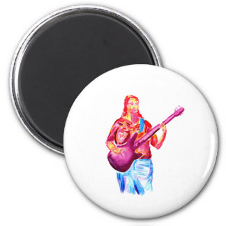 Female bass player watercolour painting colorful magnets