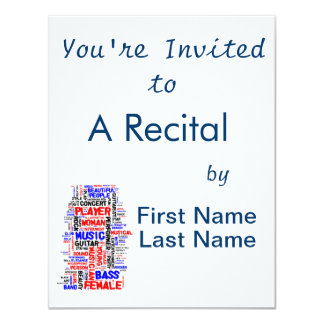 Female bass player wordle 1 red blue black 4.25x5.5 paper invitation card