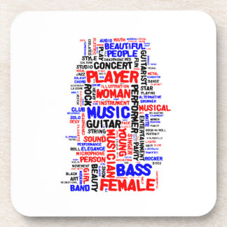Female bass player wordle 1 red blue black drink coaster