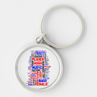 Female bass player wordle 1 red blue black keychain