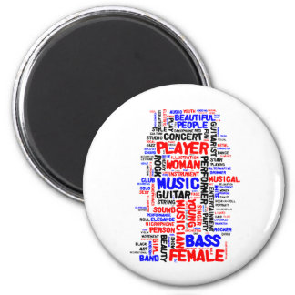 Female bass player wordle 1 red blue black refrigerator magnets