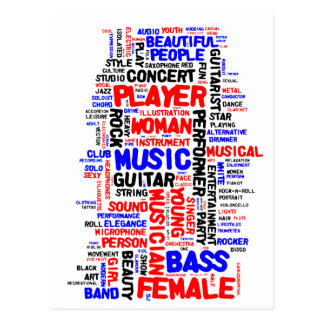 Female bass player wordle 1 red blue black postcard