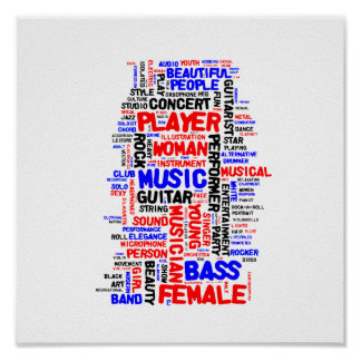 Female bass player wordle 1 red blue black posters