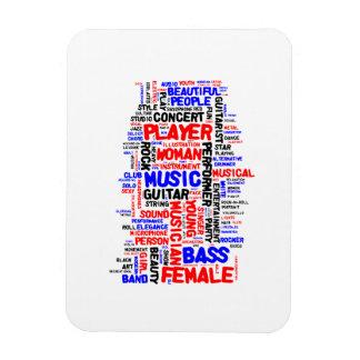 Female bass player wordle 1 red blue black rectangular magnet
