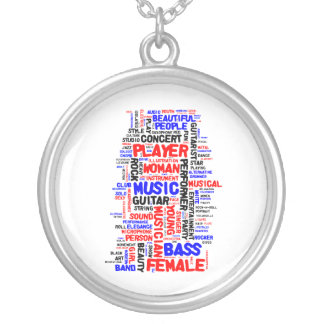 Female bass player wordle 1 red blue black silver plated necklace