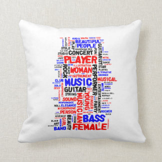 Female bass player wordle 1 red blue black throw pillow