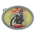 Female Biker Oval Belt Buckle